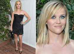 3358 Haney Reese Witherspoon Embellished Black Stretch-silk Dress Sold Out