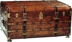 SCARBOROUGH HOUSE COCKTAIL TRUNK TABLE BROWN LEATHER FAUX CROCODILE  BRASS