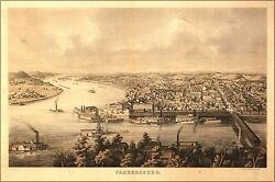Poster Many Sizes Map Of Parkersburg West Virginia 1861