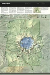 Poster, Many Sizes Map Of Crater Lake National Park, Oregon 1996