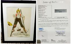 Norman Rockwell Boy On Stiltsw/dog Lithograph-hand Signed And Artist Proof W/coa