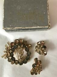 Vintage Eisenberg Ice Brooch And Earrings Set In Box Mint Signed Floral
