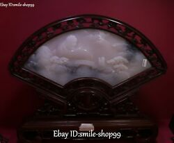 Distinctive Natural Hetian Jade Scenery Bridge Monk Damo Arhat Buddha Fan Screen