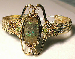 Louisiana Opal Extremely Rare Bracelet With Peridot - Beautiful Fire/colors