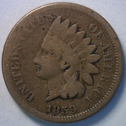 1859 Indian Head Copper Nickel Cent Penny Type Coin Good 1c