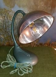 Restored Vintage Industrial Cast Iron Gooseneck Hammered Turquoise Table Lamp