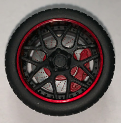 118 AB Models Wheels and Tires Set Sky Forged Wheels Red Black AB1002A