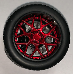 118 AB Models Wheels and Tires Set Sky Forged Wheels Red Black AB1002B