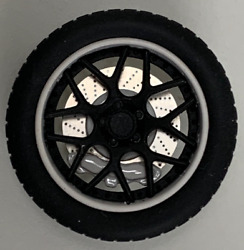 118 AB Models Wheels and Tires Set Sky Forged Wheels White Black AB1003A