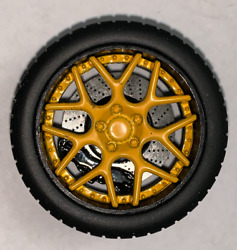 118 AB Models Wheels and Tires Set Sky Forged Wheels Yellow Black AB1007B