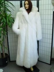 ~NEW WHITE FOX FUR COAT WHOOD WOMEN WOMAN SIZE ALL
