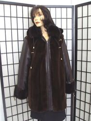 Brand New Sheared Mink Fur And Leather Jacket Coat W/ Hood Women Woman Size All