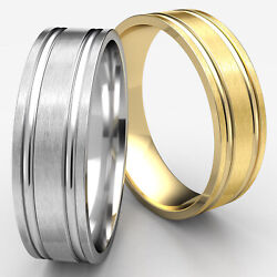 Comfort Fit Parallel Grooves 14k Gold 7mm Carved Man Menand039s Wedding Band Ring