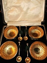 Antique Boxed Set Silver Gilt Salts And Spoons Birmingham 1891 Nathan And Hayes