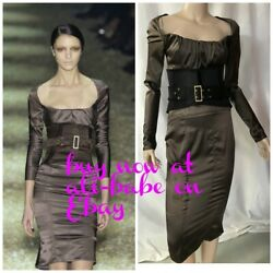 Gucci BY Tom Ford brown bustier style silk satin dress stretch I 42 belt