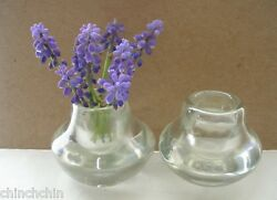 Small 1930s Exquisite Signed Venini Murano Art Glass Pair Vases Or Candleholders