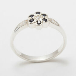 18ct 750 White Gold Natural Diamond And Sapphire Womens Daisy Ring - Sizes J To Z