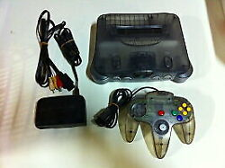 Nintendo 64 Clear Black limited edition Console controller Set from Japan FS