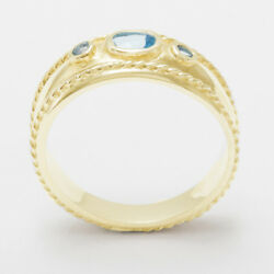 Solid 14ct Yellow Gold Natural Blue Topaz Womens Trilogy Ring - Sizes J To Z