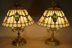 Duffner & Kimberly Pair of Leaded Glass Lamps - Documented in DK Lamp Catalog