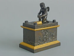 Antique French Charles X Grand Tour Patinated Inkwell With Cupid Sharpening His