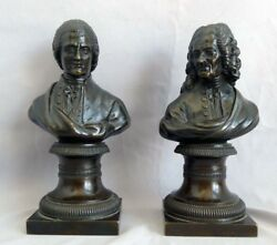 Beautiful Pair Of Antique Busts Of Rousseau And Voltaire.