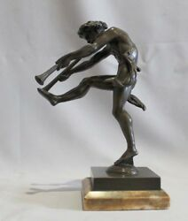 Antique Bronze Of A Satyr Playing Pipes On Sienna Marble Base Signed Bulio.