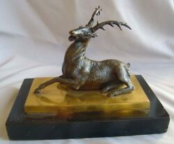 Antique English Regency Bronze Stag On Ormolu And Marble Base