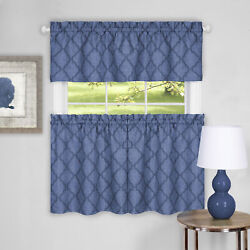 3-piece Window Kitchen Curtain Set Country Trellis Sheer Tier Panels And Valance