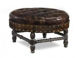 J Neal Bench Traditional Antique Oval Leather Non-removable Leg Hand-crafted