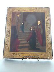 Russian 19c Hand Painted Wood Icon With Young Mother Mary In Temple First Time