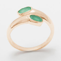 Solid 18ct 750 Rose Gold Natural Emerald Womens Band Ring - Sizes J to Z