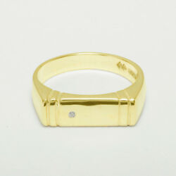 18ct 750 Yellow Gold Natural Diamond Mens Band Ring - Sizes N To Z