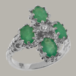 18ct 750 White Gold Cubic Zirconia And Emerald Womens Cluster Ring - Sizes J To Z