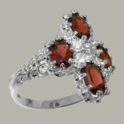 18ct 750 White Gold Cubic Zirconia And Garnet Womens Cluster Ring - Sizes J To Z