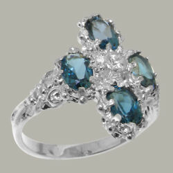 18ct 750 White Gold Cubic Zirconia And London Blue Topaz Womens Cluster Ring
