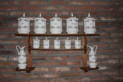 Antique French Wall Shelf Spice Herb Rack Porcelain Storage Jar #652 #792
