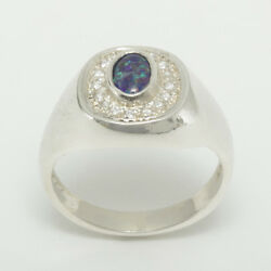 18ct 750 White Gold Opal Triplet And Cz Mens Signet Ring - Sizes N To Z