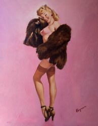 Painting Sale Gil Elvgren In The Pink Original Pin-up Lingerie Stockings Pinup