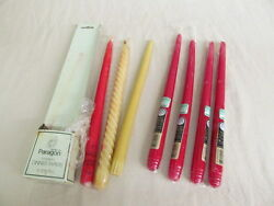 7 Vtg 12quot; Taper Candles: 1 Red Paragon 4 Red Candle lite; 1 Ivory Halo Spirals