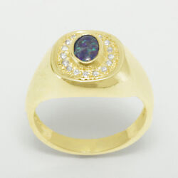 14ct Yellow Gold Opal Triplet And Cubic Zirconia Mens Signet Ring - Sizes N To Z