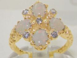 Solid 9ct Yellow Gold Natural Opal And Diamond Vintage Ring Sized For You