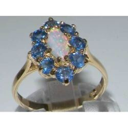 Ladies Solid 18ct Gold Natural Opal And Sapphire Elegant English Cluster Ring