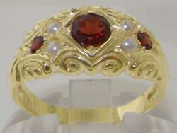 Solid 14ct Yellow Gold Natural Garnet And Pearl Vintage Style Band Ring