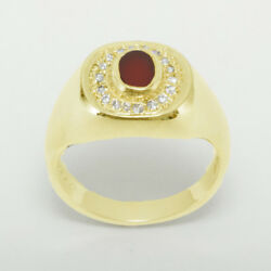14ct Yellow Gold Natural Carnelian And Cz Mens Signet Ring - Sizes N To Z