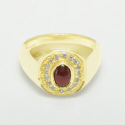 14ct Yellow Gold Natural Garnet And Cubic Zirconia Mens Signet Ring - Sizes N To Z