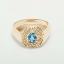 14ct Rose Gold Natural Blue Topaz And Cz Mens Signet Ring - Sizes N To Z