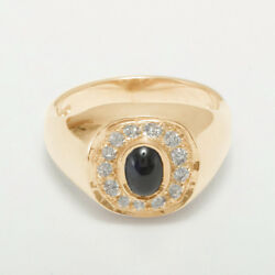 14ct Rose Gold Natural Sapphire And Cubic Zirconia Mens Signet Ring - Sizes N To Z