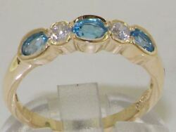 Solid 18ct Yellow Gold Natural Blue Topaz And Diamond Modern Eternity Band Ring