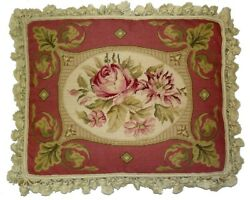 18 X 22 Handmade Wool Needlepoint Pink And Gold Frame Roses Pillow With Tassels